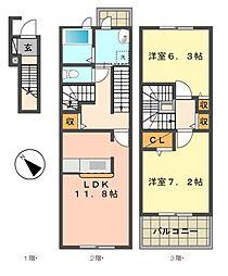 エボルシオン東光A棟[2階]の間取り