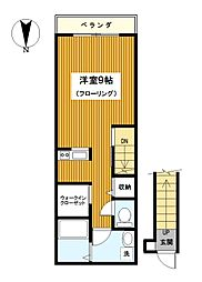 神奈川県横浜市神奈川区三ツ沢下町の賃貸アパートの間取り
