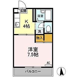 岡山県岡山市中区清水の賃貸アパートの間取り