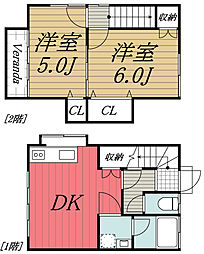 JR総武線 稲毛駅 バス10分 第一徳川公園入口下車 徒歩3分の賃貸タウンハウス 1階2DKの間取り