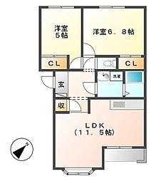 ルミエ-ルB[1階]の間取り