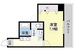 Osaka Metro今里筋線 蒲生四丁目駅 徒歩1分の賃貸マンション 9階1Kの間取り
