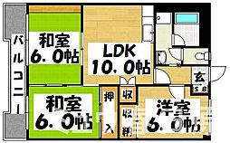 福岡県春日市下白水北3丁目の賃貸マンションの間取り