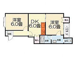 大阪府堺市西区山田3丁の賃貸マンションの間取り