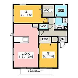 レフィナード松原 B[2階]の間取り