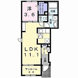 長野電鉄長野線 須坂駅 徒歩14分の賃貸アパート 1階1LDKの間取り