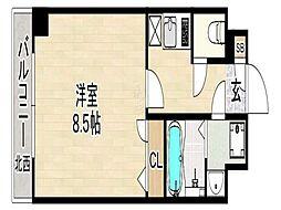 エンクレスト祇園 7階1Kの間取り
