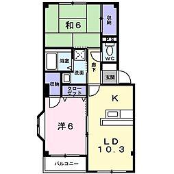 愛知県岡崎市大和町字牧内の賃貸アパートの間取り
