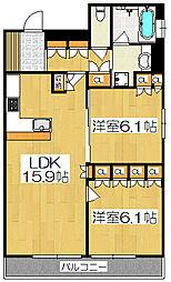 リーガル京都四条烏丸II[210号室]の間取り