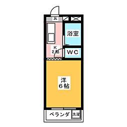 コーポ大桜I 3階1Kの間取り