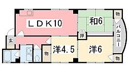 兵庫県姫路市八代本町2丁目の賃貸マンションの間取り