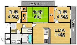 兵庫県川西市丸の内町の賃貸マンションの間取り