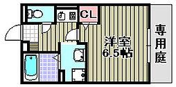 フローラ岡本B 1階1Kの間取り