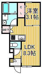 Amour大船 1階1LDKの間取り