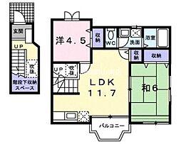 岡山県玉野市田井5丁目の賃貸アパートの間取り