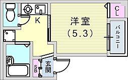 神戸市西神・山手線 長田駅 徒歩4分の賃貸マンション 2階1Kの間取り