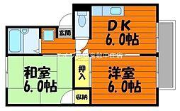 岡山県倉敷市亀山の賃貸アパートの間取り