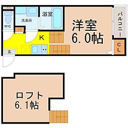 愛知県名古屋市中村区上石川町1丁目の賃貸アパートの間取り