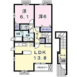 サンロードカドイケ A[2階]の間取り