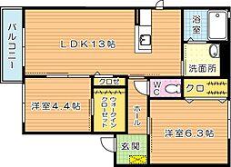 三洋タウン木屋瀬 A棟[2階]の間取り