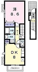 香川県高松市宮脇町1の賃貸アパートの間取り