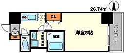 BPRレジデンス江坂 11階1Kの間取り