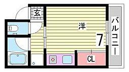 兵庫県神戸市灘区下河原通2丁目の賃貸マンションの間取り