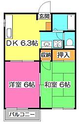 メゾン並木B[2階]の間取り