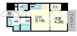 サムティガーデン江坂I 9階1DKの間取り