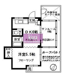 神奈川県横浜市南区永田北1丁目の賃貸マンションの間取り