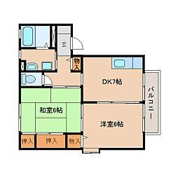 静岡県静岡市清水区大内新田の賃貸アパートの間取り