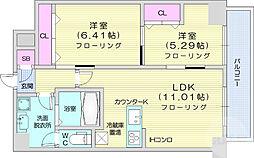 グラン・ドミール小田原山本丁 4階2LDKの間取り