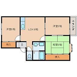 奈良県香芝市尼寺3丁目の賃貸アパートの間取り