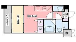 阪神本線 西宮駅 徒歩9分の賃貸マンション 3階1DKの間取り