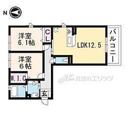 リート623E(イースト) 3階2LDKの間取り