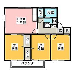 愛知県岡崎市井田町字茨坪の賃貸アパートの間取り