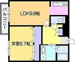 ファーストレジデンスはんのき公園前B棟 3階1LDKの間取り