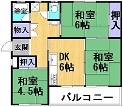 大阪府三島郡島本町若山台2丁目の賃貸マンションの間取り