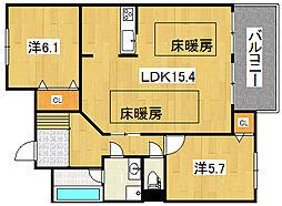 兵庫県三木市加佐の賃貸マンションの間取り