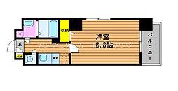JR山陽本線 岡山駅 徒歩11分の賃貸マンション 8階1Kの間取り