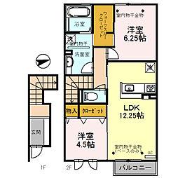 (仮)D-room三馬[202号室]の間取り