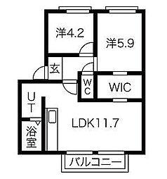 メイプルハイツC[2階]の間取り