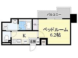 Dimus新大阪 7階1Kの間取り