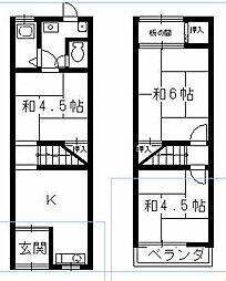 [テラスハウス] 大阪府守口市佐太中町6丁目 の賃貸【/】の間取り