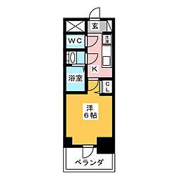 プレサンス名古屋幅下ファビュラス 6階1Kの間取り