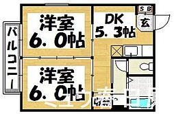 福岡県春日市一の谷4丁目の賃貸アパートの間取り