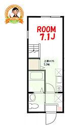 ハーミットクラブハウス三ッ沢南町B棟 2階ワンルームの間取り
