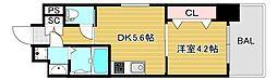 JR大阪環状線 弁天町駅 徒歩9分の賃貸マンション 6階1DKの間取り
