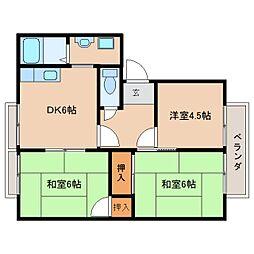 奈良県天理市杉本町の賃貸アパートの間取り