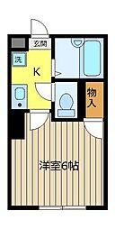 埼玉県ふじみ野市駒西1丁目の賃貸アパートの間取り